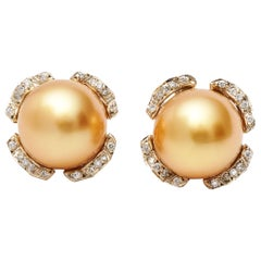 Mikimoto Pearl and Diamond Earrings in 18 Karat Two-Tone Gold