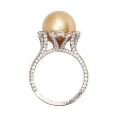 Mikimoto Pearl and Diamond Ring, Platinum