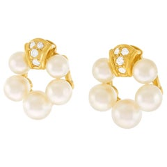 Mikimoto Pearl and Diamond Set Gold Earrings