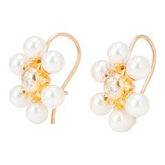 Mikimoto Pearl and Diamond Snowflake Earrings