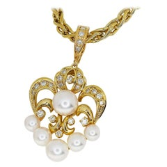 Mikimoto Pearl Diamond 18 Karat Yellow Gold Pendant Necklace
