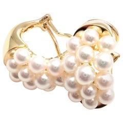 Mikimoto Pearl Hoop Yellow Gold Earrings