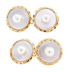 Mikimoto Pearl Mother of Pearl Gold Cufflinks