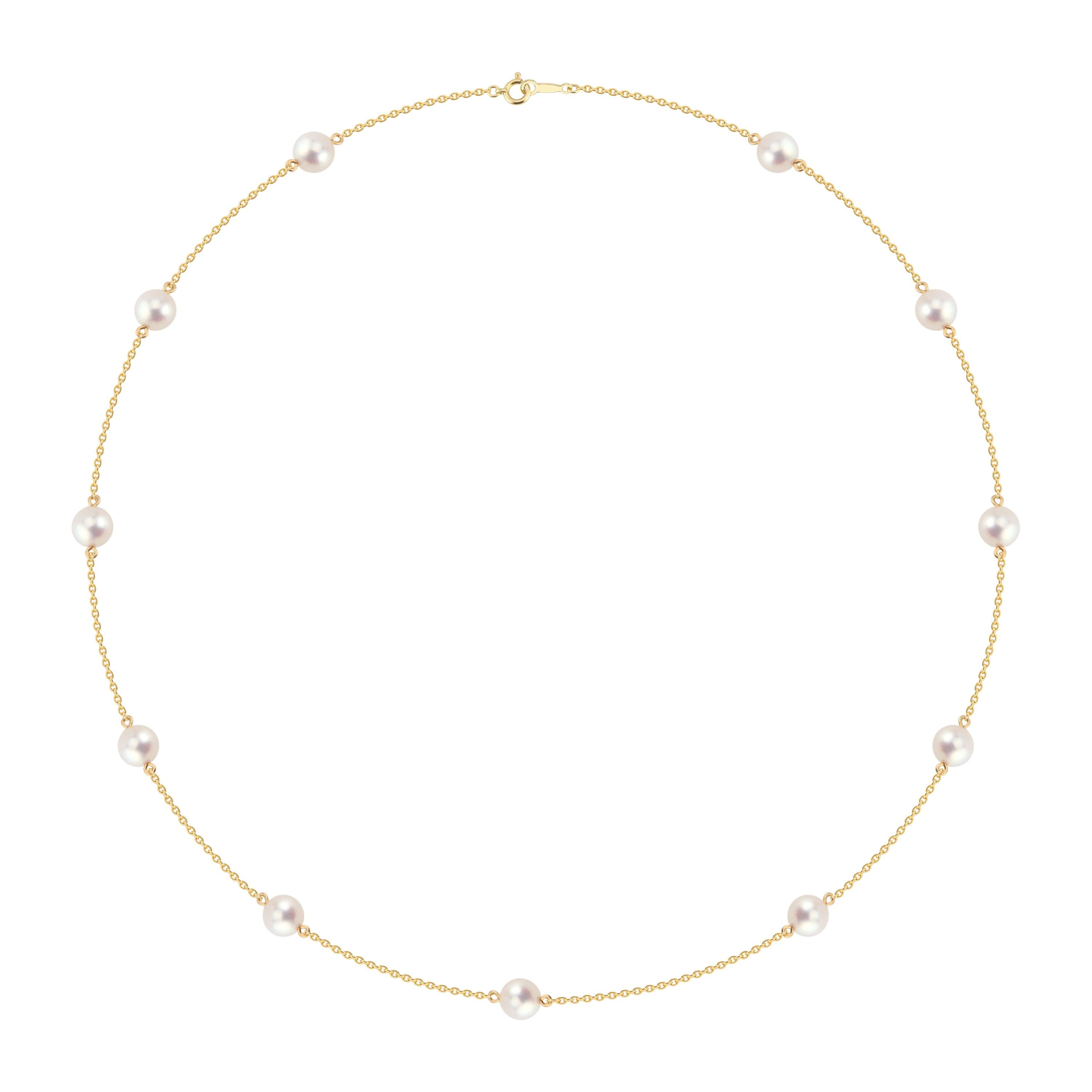 Mikimoto Pearl Station Yellow Gold by the Yard Necklace