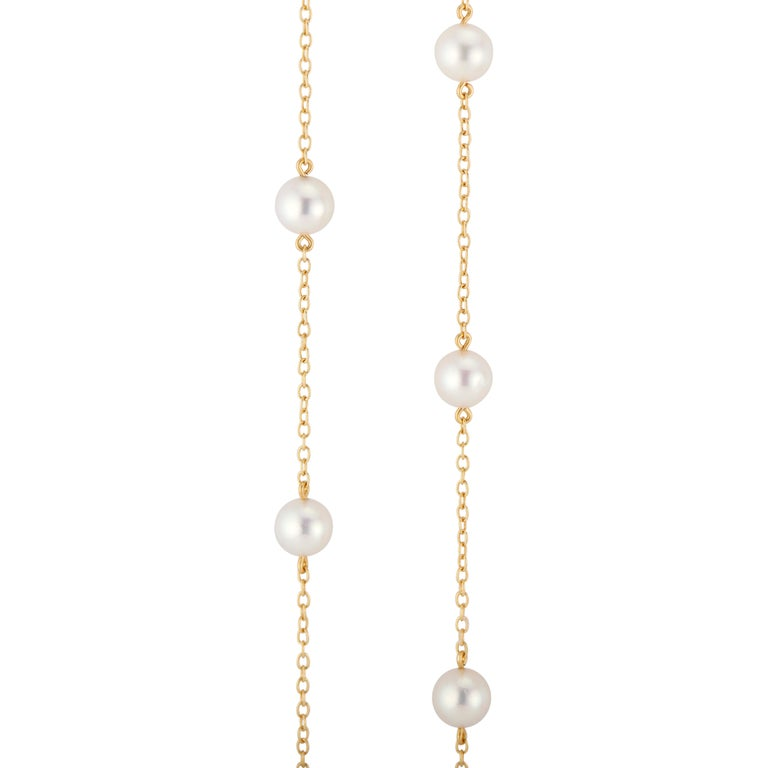 Women's Mikimoto Pearl Station Yellow Gold Necklace For Sale