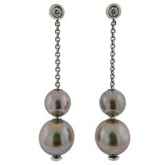 Mikimoto Pearls in Motion Gold Tahitian Pearl Diamond Earrings