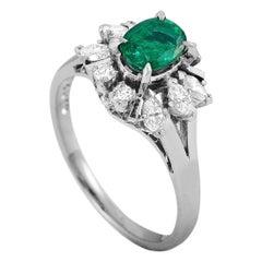 Mikimoto Platinum 0.50 Carat Diamond and Emerald Ring