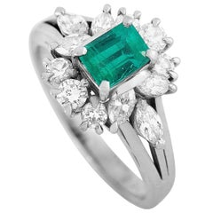 Mikimoto Platinum 0.66 Carat Diamond and Emerald Ring
