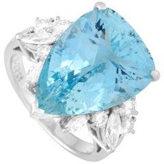 Mikimoto Platinum 0.77 Carat Diamond and Aquamarine Ring