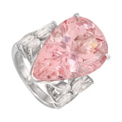Mikimoto Platinum 2.63 Carat Diamond and Morganite Ring