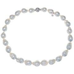 Mikimoto Silver White Baroque South Sea Cultured Pearl Necklace