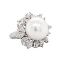 Mikimoto South Sea Pearl Marquise Diamond 18 Karat White Gold Cocktail Ring