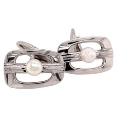 Mikimoto Sterling Silver Cufflinks 6.14 Grams Pearls