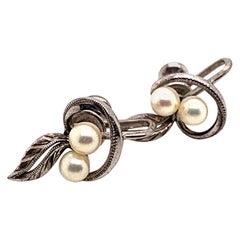 Mikimoto Sterling Silver Earrings 2.25 Grams Pearls