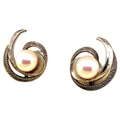 Mikimoto Sterling Silver Earrings 2.45 Grams Pearls