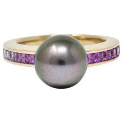 Mikimoto Tahitian Pearl Pink Sapphire 18 Karat White Gold Band Ring