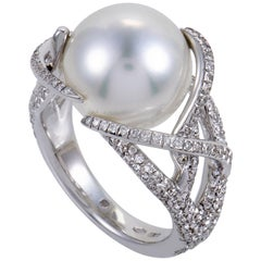 Mikimoto Women's 18 Karat White Gold Diamond Pave Pearl Ring
