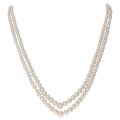 Mikimoto Yellow Gold Akoya Pearl Necklace, 18 Karat Graduated Double Strand
