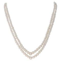 Mikimoto Yellow Gold Akoya Pearl Necklace, 18 Karat Graduated Double Strand