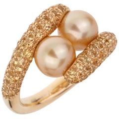 Mikimoto Yellow Sapphire Pearl Yellow Gold Ring