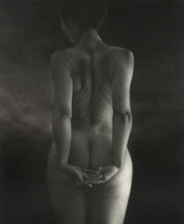 Crepuscule (literally means Dusk. Standing young nude woman facing away) - Print by Mikio Watanabe