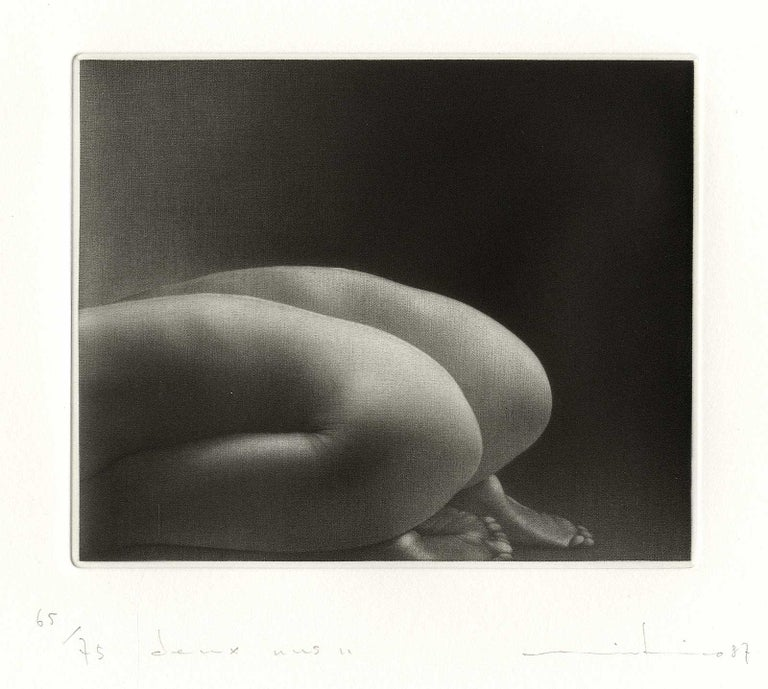 Deux Nus II (female nudes pose in parallel ) - Black Nude Print by Mikio Watanabe