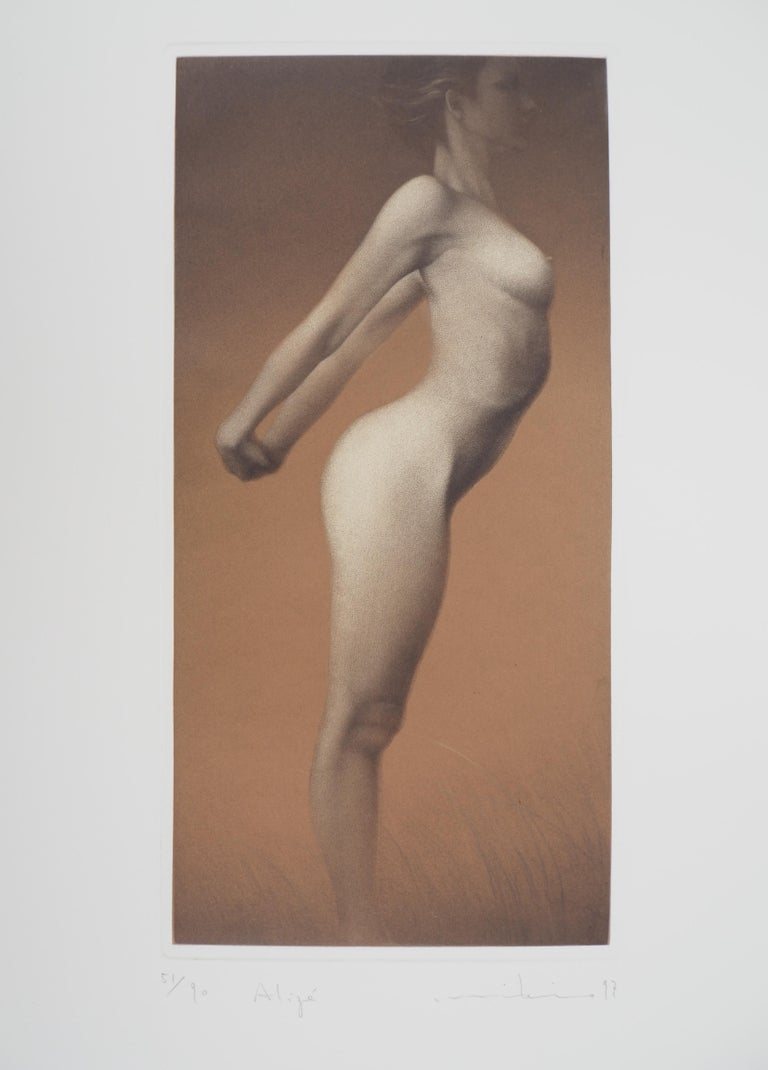 Female nude - Original handsigned etching / 90ex - Print by Mikio Watanabe