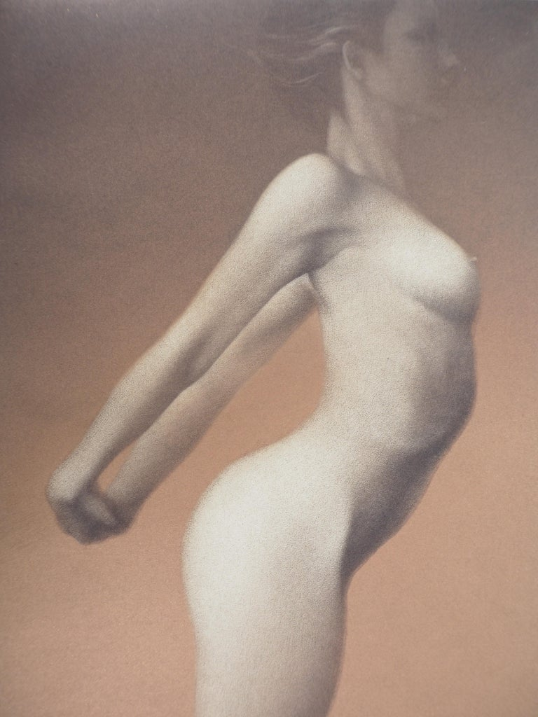 Female nude - Original handsigned etching / 90ex - Gray Nude Print by Mikio Watanabe
