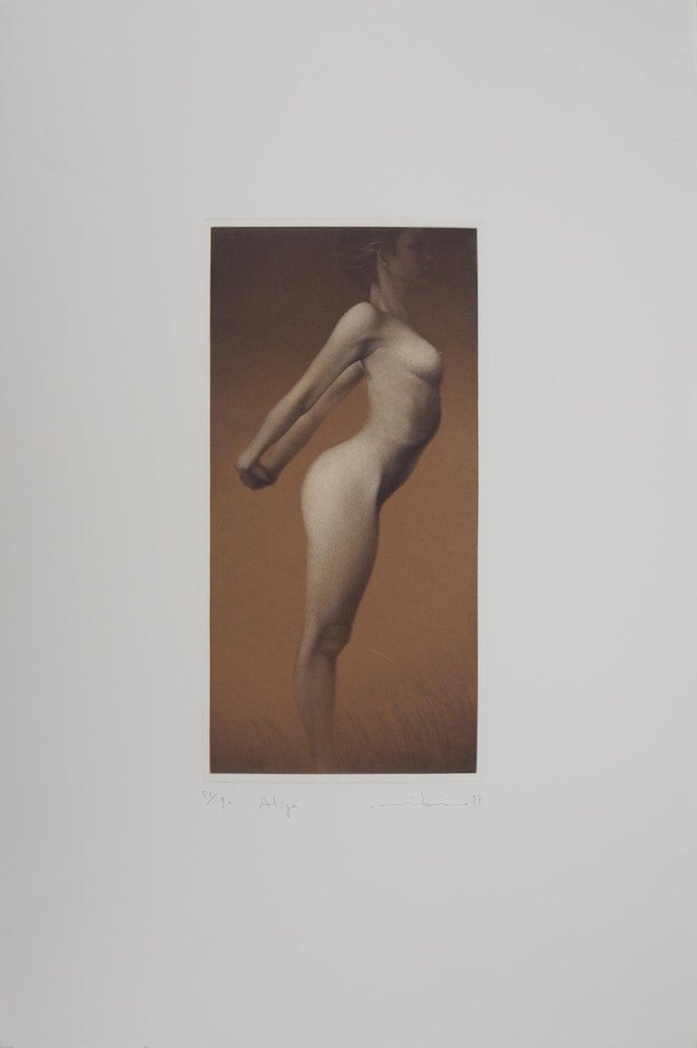 Mikio Watanabe Nude Print - Female nude - Original handsigned etching / 90ex