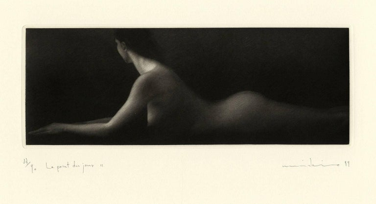 Mikio Watanabe Figurative Print - Le Point du Jour II (A young nude woman in repose at daybreak)