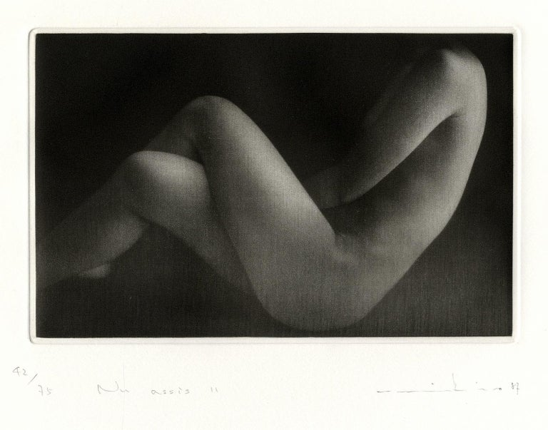 Nu Assis II (Seated nude with legs crossed) - Black Nude Print by Mikio Watanabe