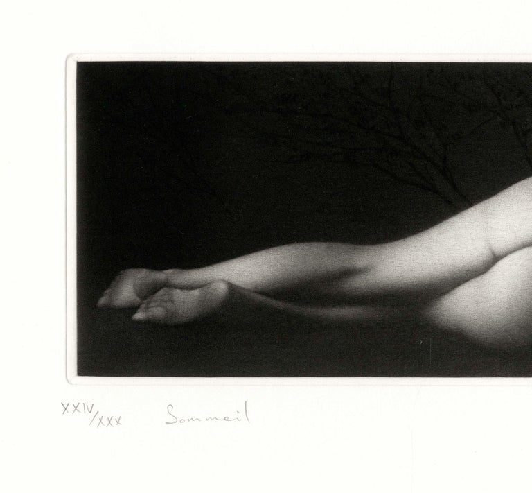 Sommeil (a sensuous nude woman sleeps on her side) - Print by Mikio Watanabe