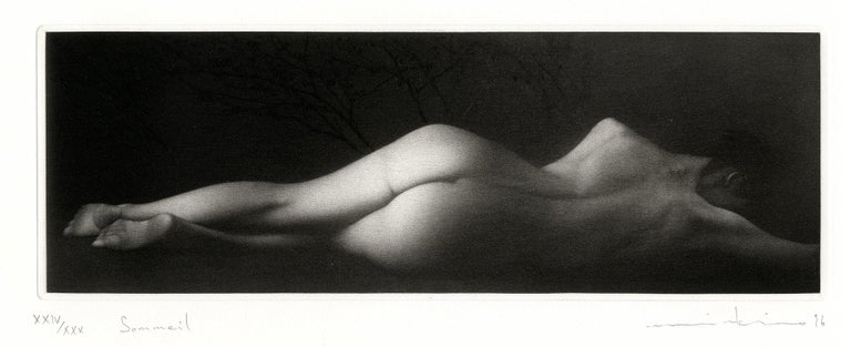 Sommeil (a sensuous nude woman sleeps on her side) - Black Nude Print by Mikio Watanabe