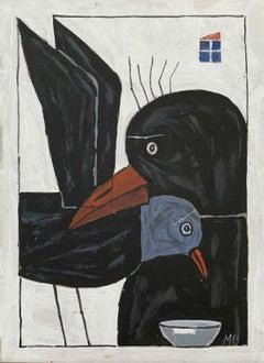 Birds - Figurative acrylic painting, Surrealism, Animals, Black & white