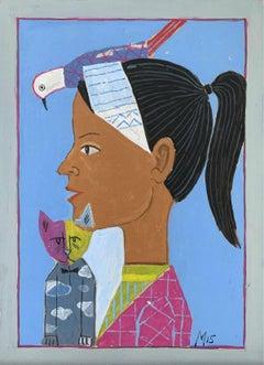 Portrait - Figurative acrylic painting, Surrealism, Animals, Colorful, Vibrant