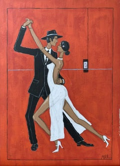 Tango argentino 3 - Figurative acrylic painting, Colorful Vibrant, Couple, Dance