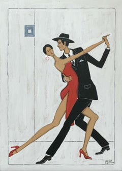 Tango argentino - Figurative acrylic painting, Colorful Vibrant, Couple, Dance
