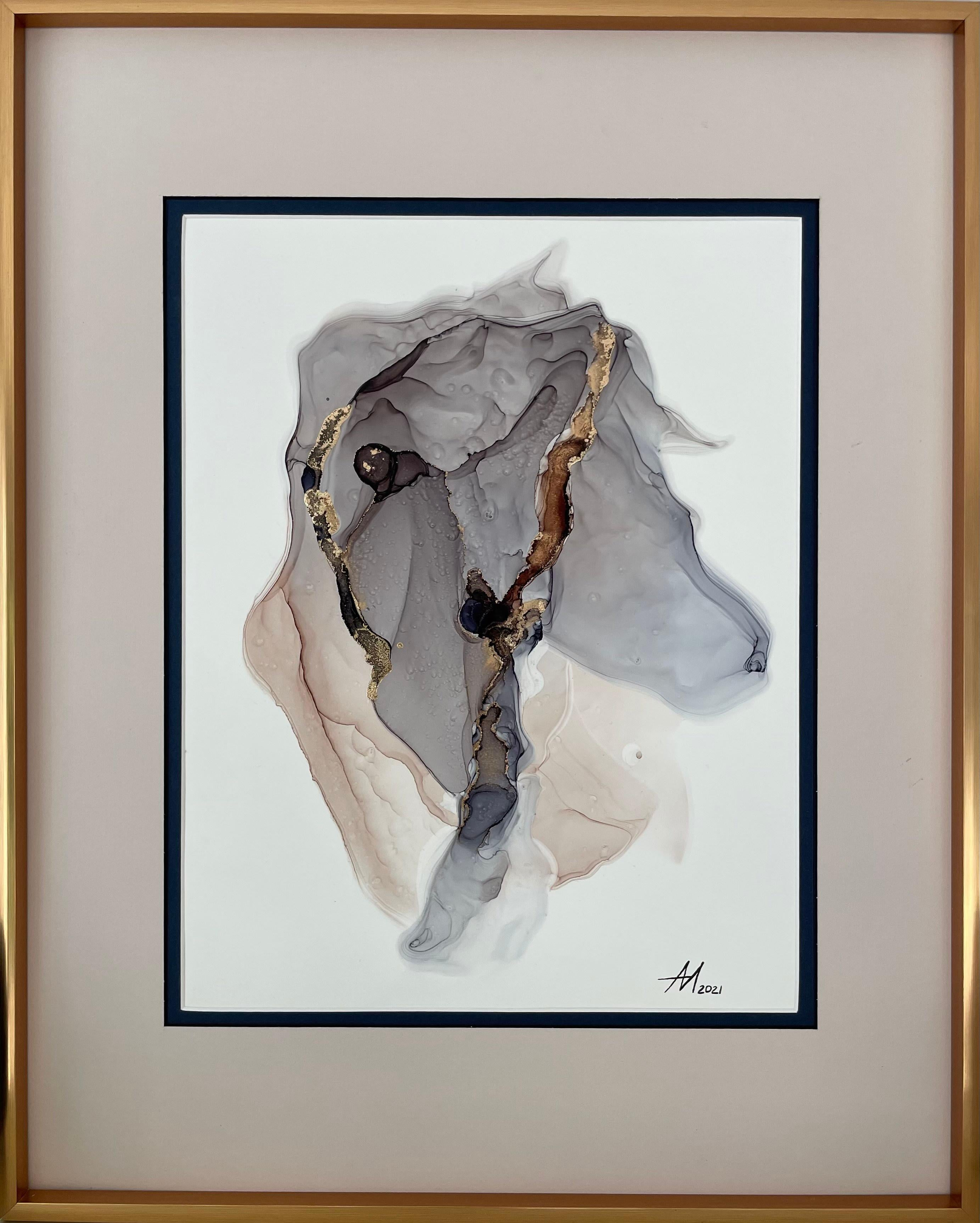 Miss Charm (horse) - abstract painting, made in grey, beige, gold, blue color