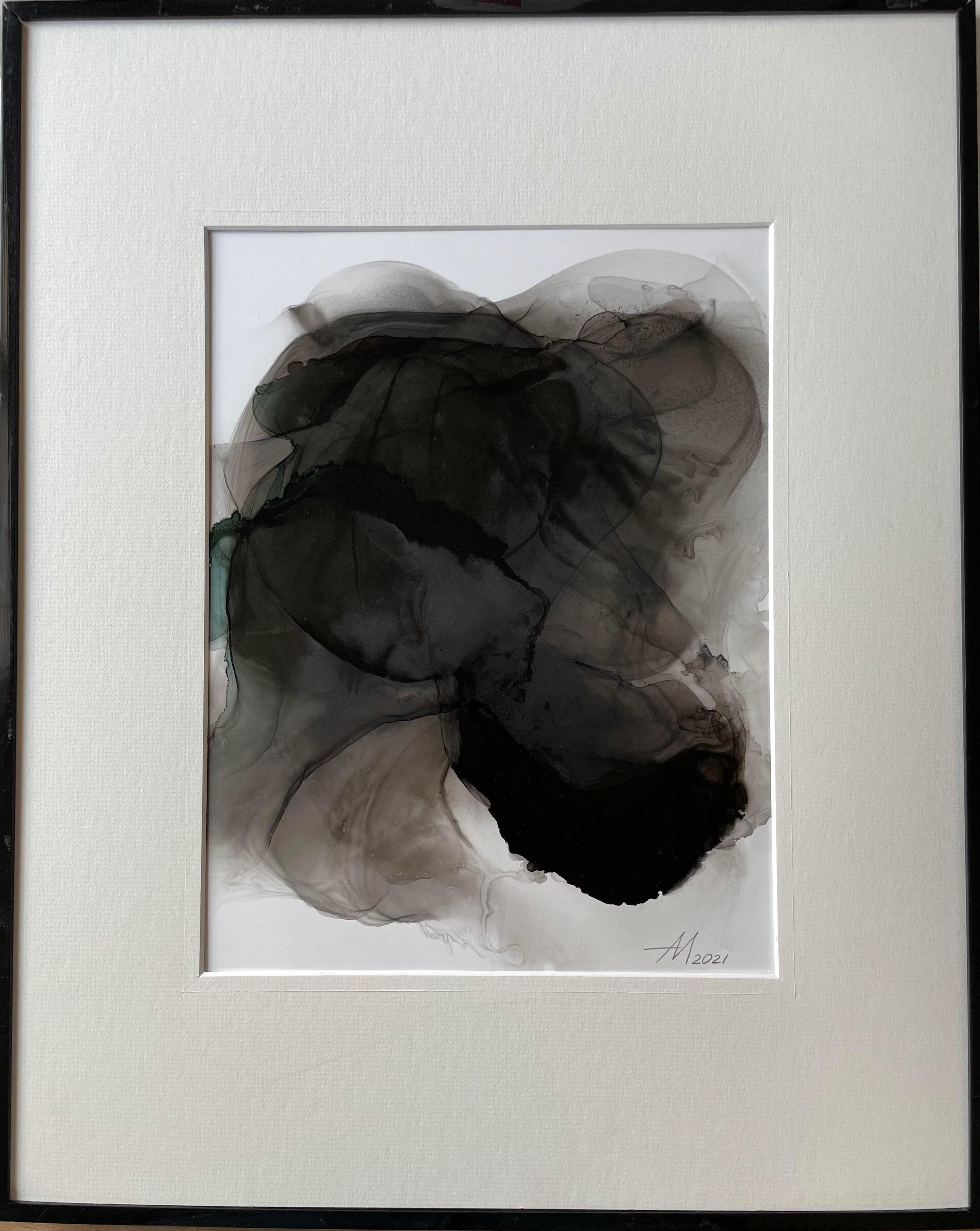 Mystery - abstract painting, made in black, grey, green color