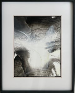 Through the wall --abstract painting, made in black, beige, grey and white color