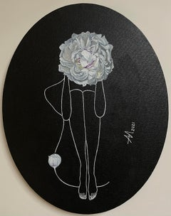 White on black - line drawing women figures with white peony