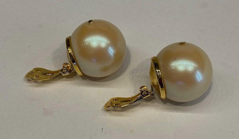 Mila Schon 1980s Large Faux Pearl Earrings For Sale 1