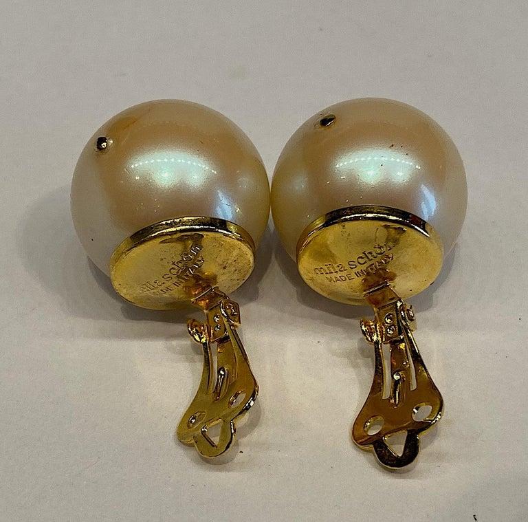 Mila Schon 1980s Large Faux Pearl Earrings For Sale 2
