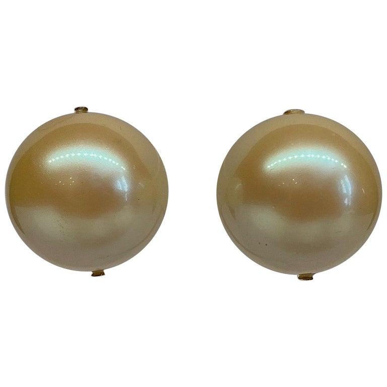 Mila Schon 1980s Large Faux Pearl Earrings For Sale