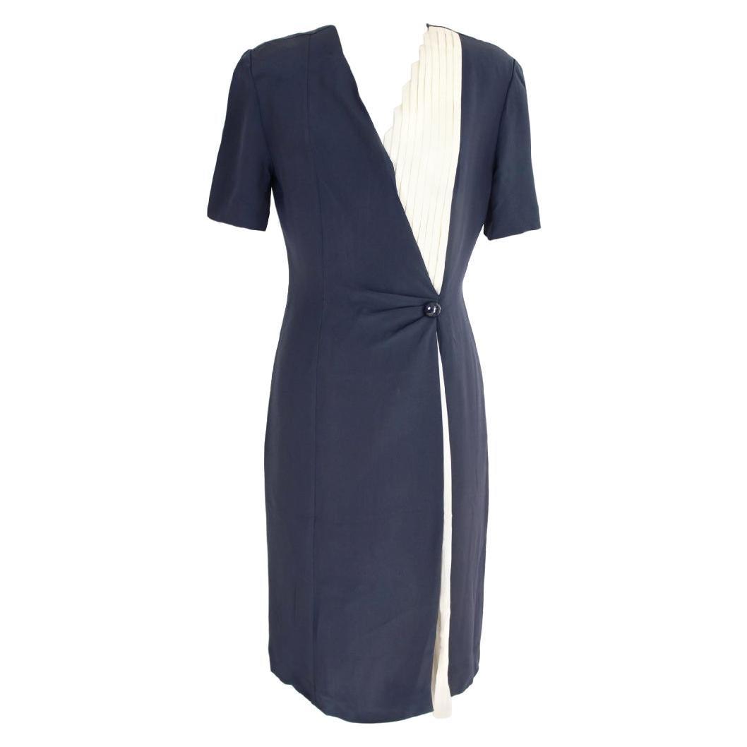 Mila Schon Blue Beige Silk Pleated Sheath Dress