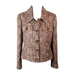 Mila Schon Brown Woven Virgin Wool Blazer Jacket Size 42