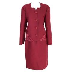 Mila Schon Burgundy Wool Elegant Skirt Suit