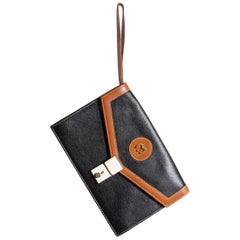 Mila Schon Clutch bag, in Brown and Black Leather, Original Label.