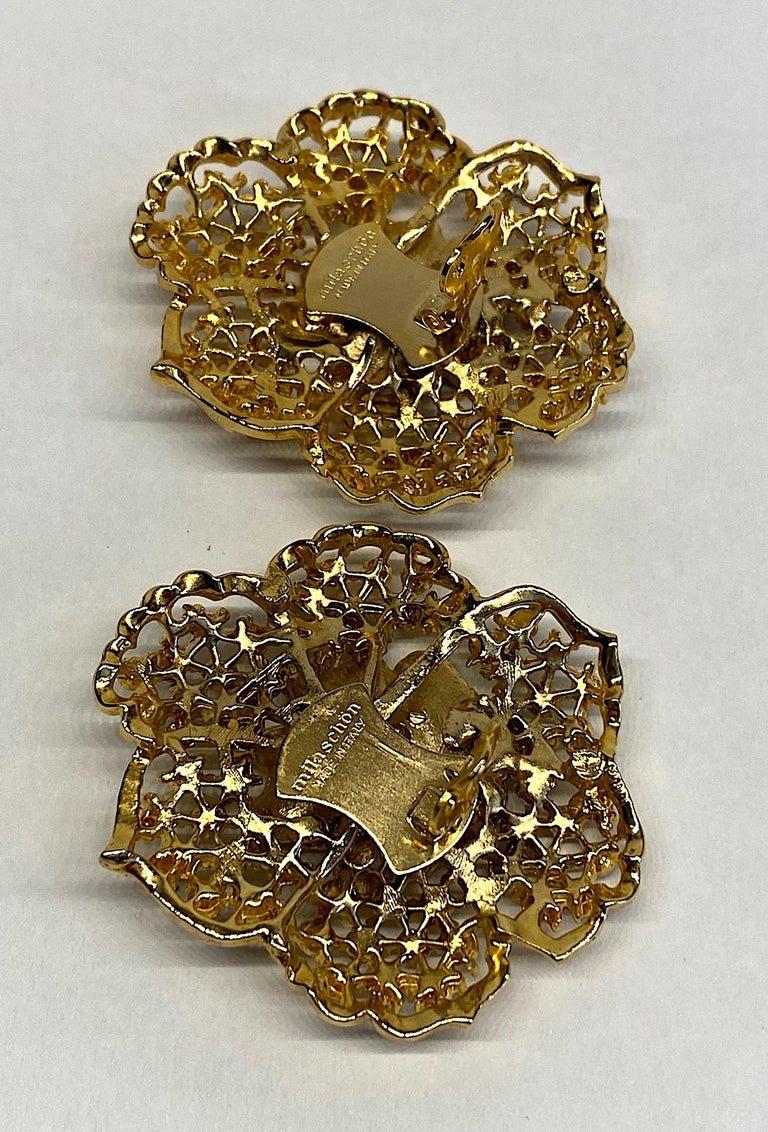 Mila Schön Gold 1980s Large Gold & Black Enamel Flower Earrings For Sale 6