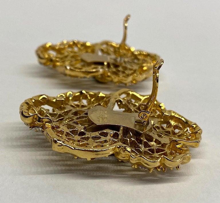 Mila Schön Gold 1980s Large Gold & Black Enamel Flower Earrings For Sale 7